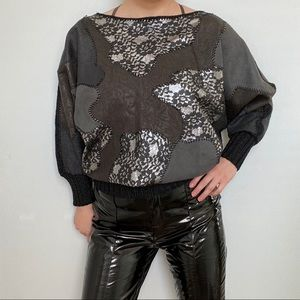 Vintage Leather patchwork sweater